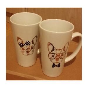 2 American Atelier french bulldogs tall cup mugs